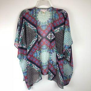 Band of Gypsies Sheer Mix Print Open Kimono